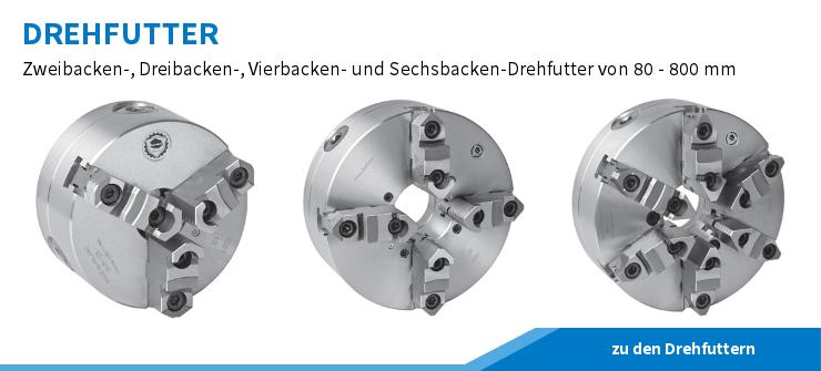 Drehfutter nach DIN 6350, DIN 55026, DIN 55027, DIN 55029 und ISO 702 aus Stahl oder Guss